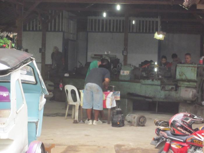 Boy's open air workshop