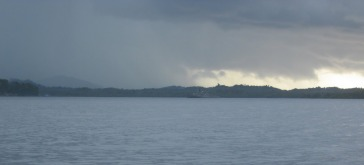 Approaching Babalac with the squall heading back our way