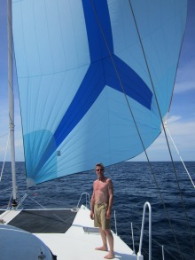 Hugh enjoying the downwind sail, blissfully unaware of what is coming next