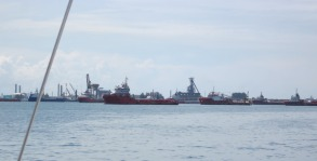 A few of the offshore oil and gas service ships which dominated Labuan Bay