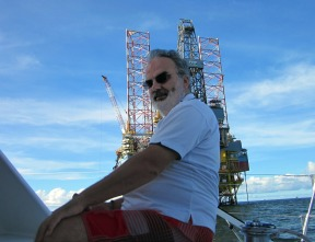 Duncan admiring the oil and gas rigs that dominatged the seascape