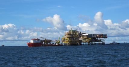 Oil rig and tenders off Labuan