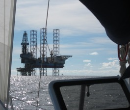 Oil and gas infrastructure surrounded the anchorage