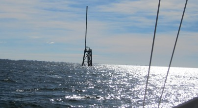 Having avoided pitchpoling Candeux on its own anchor, the next challenge was to avoid a myriad unlit poles which were part of the oil ad gas industry