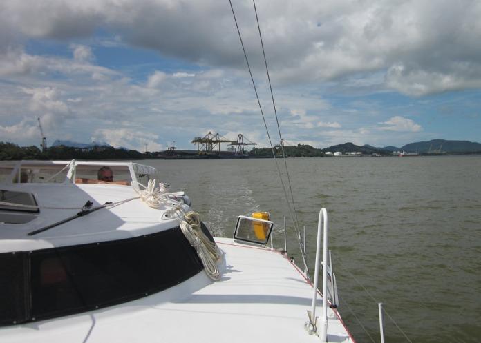 Motoring the nine miles up the Sarawak River to Kuching