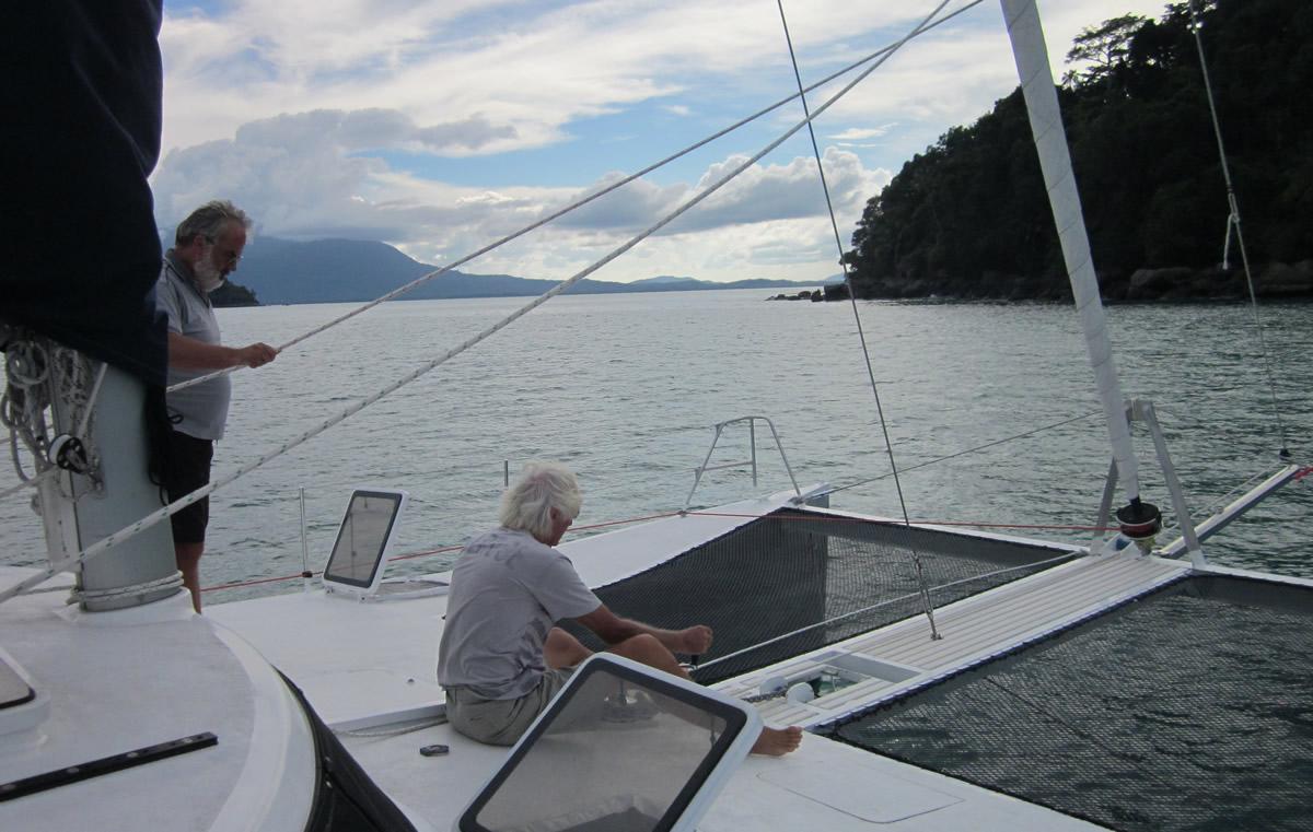 Ben (right) and Duncan drop the anchor at Pulau Talang Talang Besar