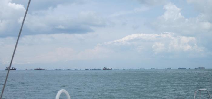 The traffic approaching the Malay Peninsula